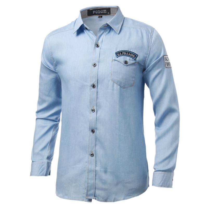 Men Spring Denim Polyester Turn-down Collar Long Sleeve Solid Color Shirt