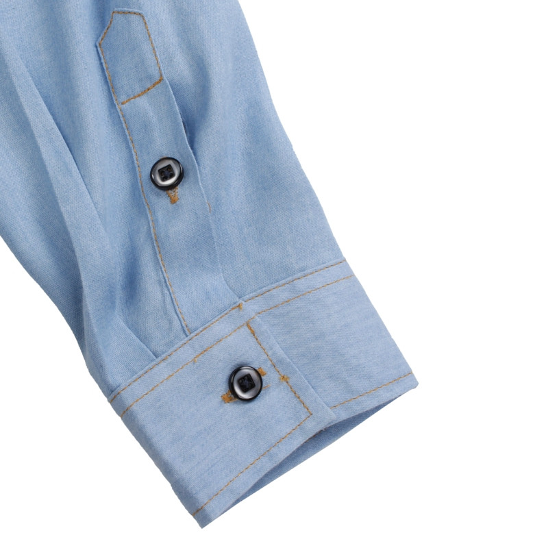 Men Spring Denim Polyester Turn-down Collar Long Sleeve Solid Color Shirt