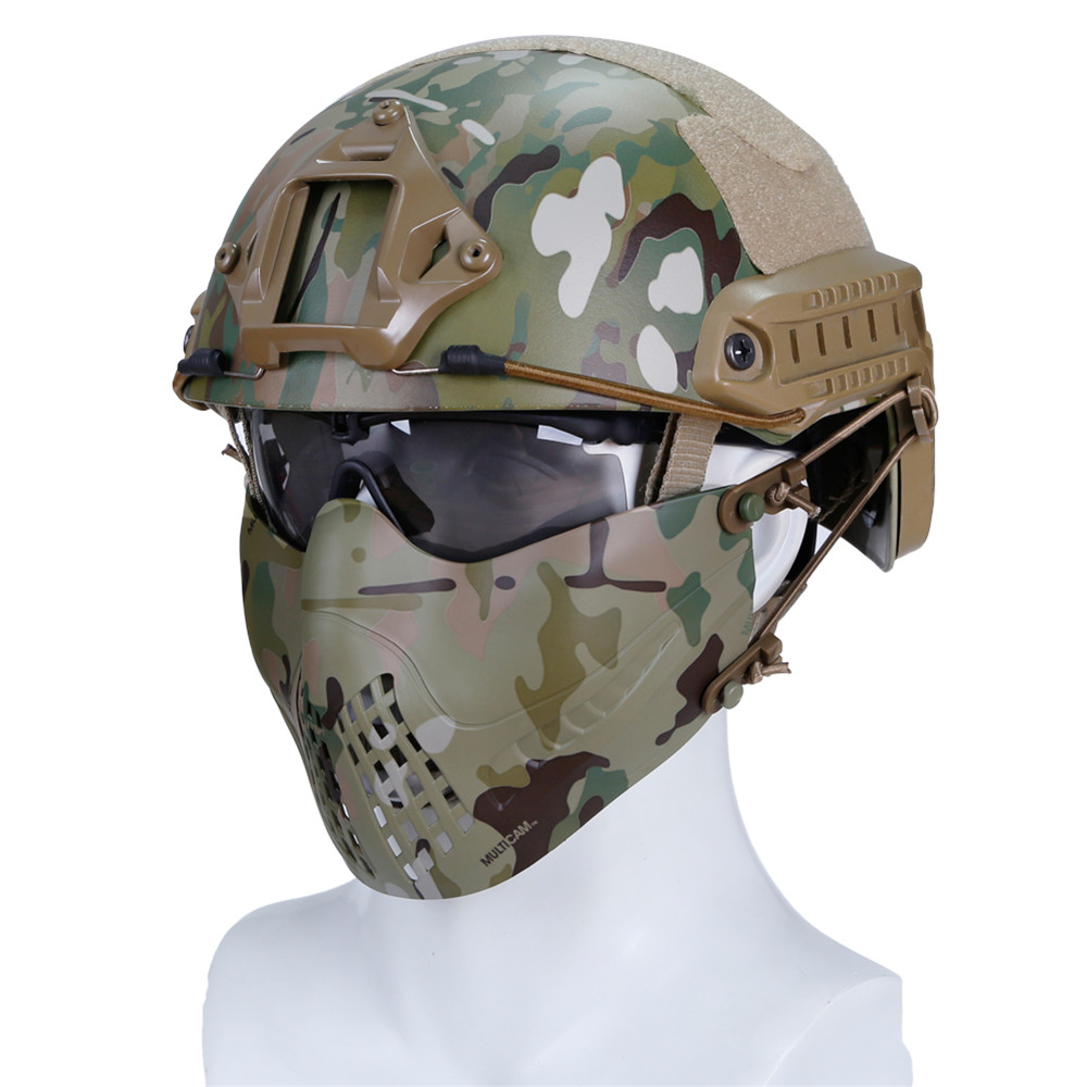 WoSporT Motorcycle Military Tactical Half Face Mask Outdoor Protective Camouflage