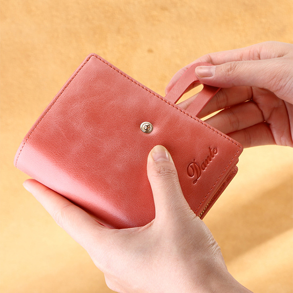 Women Genuine Leather Small Wallet Short Wallet Card Holder