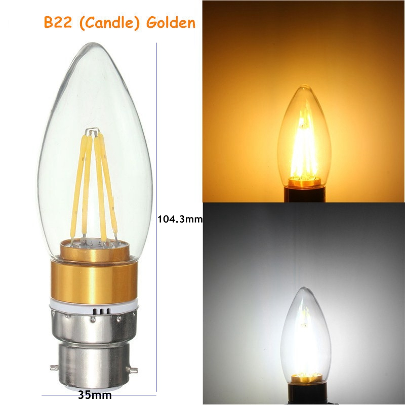 E27 E14 E12 B22 B15 4W Golden Incandescent Candle Light Bulb Home Lighting Decoration 220V