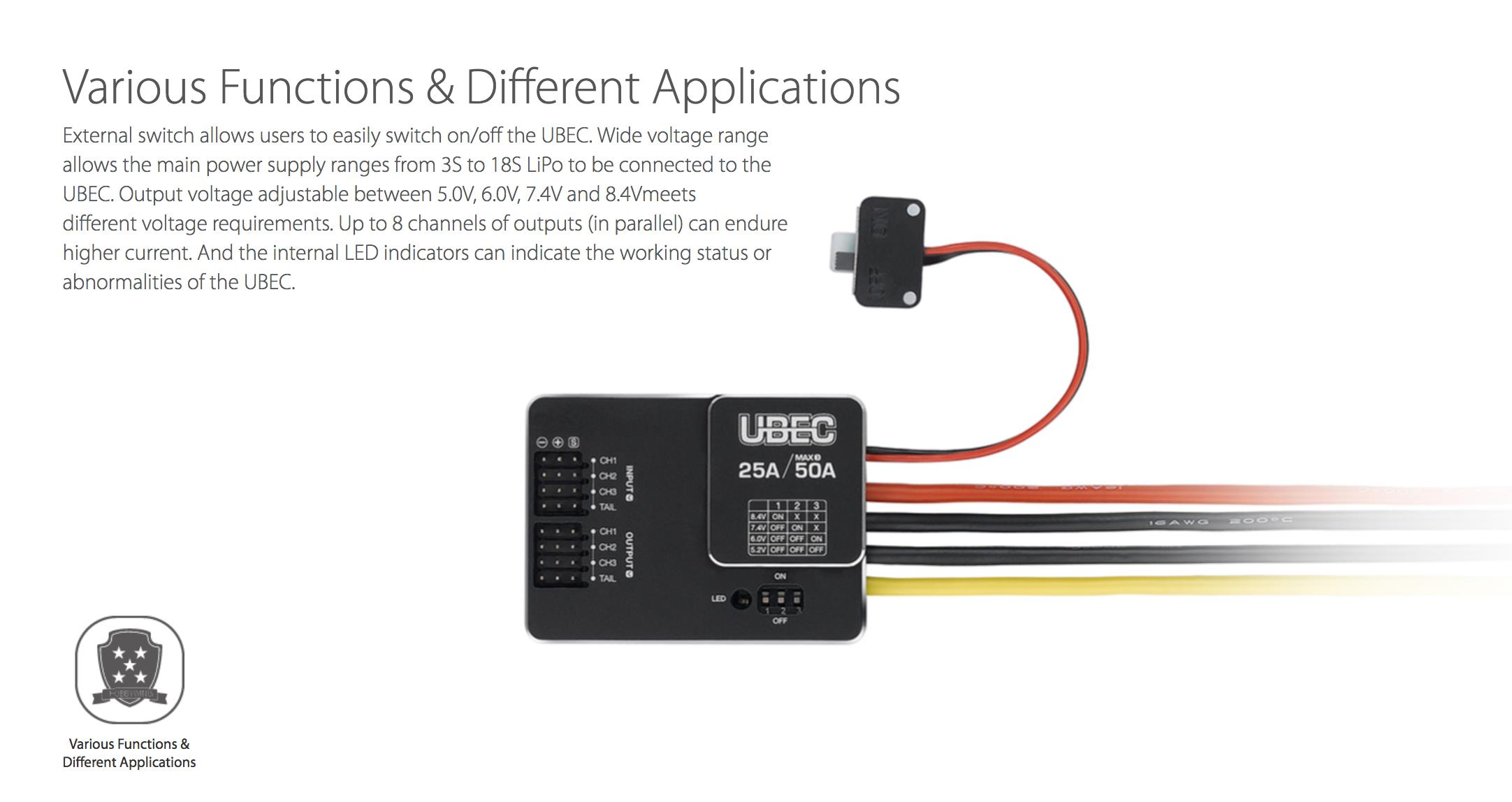 Hobbywing External 25A UBEC HV 3-18S For FPV Mini Racer RC Quadcopter Drone Airplane
