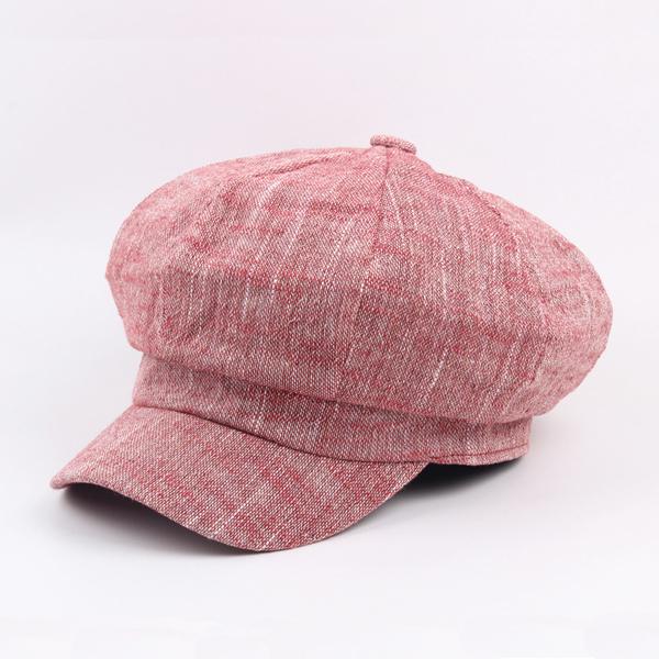 Women Mens Vintage Linen Octagonal Cap Casual Solid Painter Hat Newsboy Cap