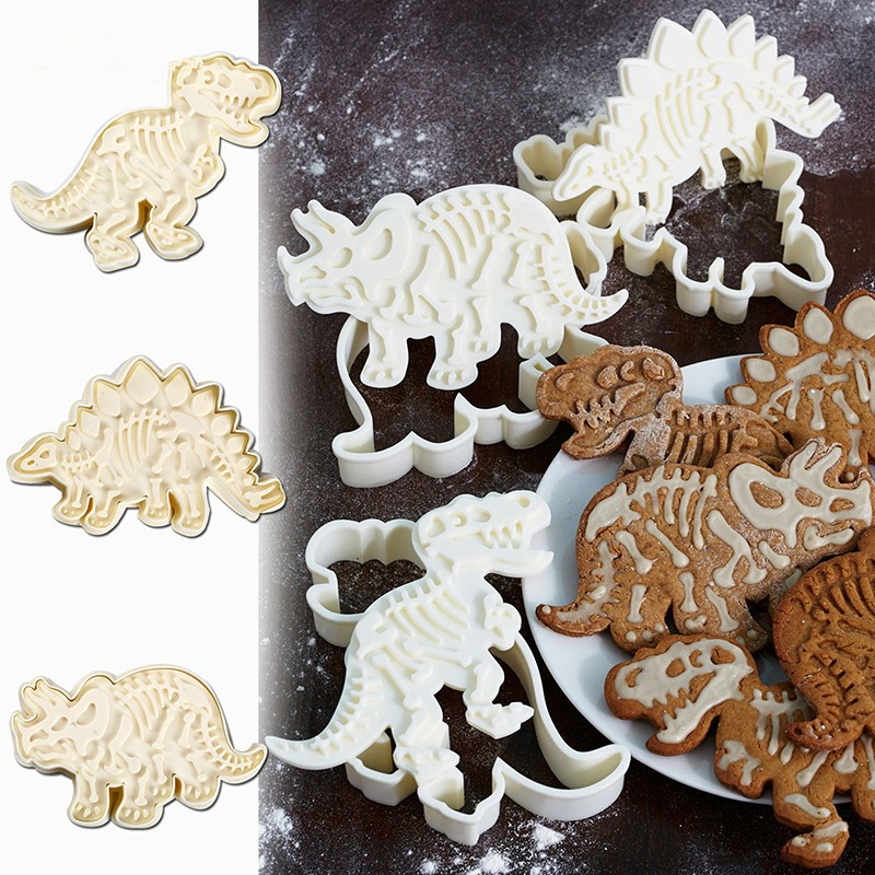 3Pcs / Set Cute Dinosaur Shaped Cookie Cutters Tools Kitchen Bakeware Decorative Tool Baking Mold