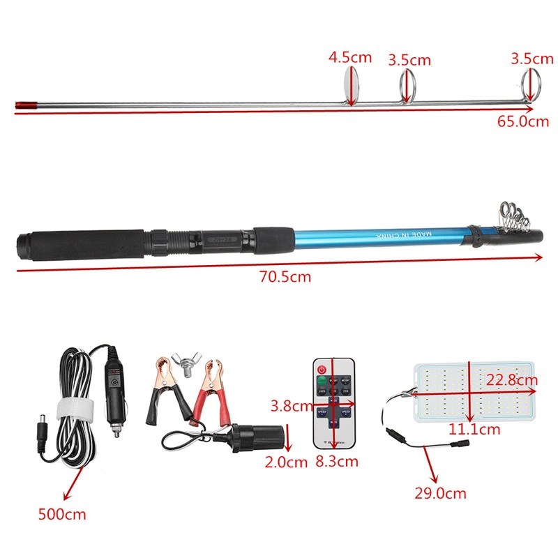 12V 500W Telescopic LED Fishing Rod Lamp Car Light Remote Controller Outdoor Camping Lantern