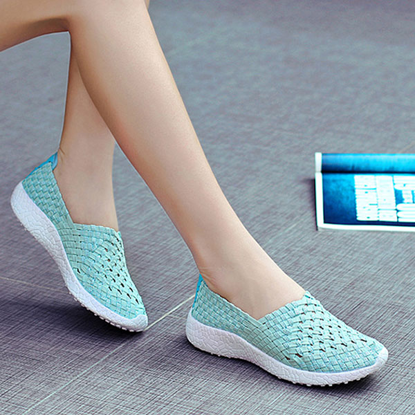 Women Hollow Out Casual Slip On Knitting Outdoor Shoes