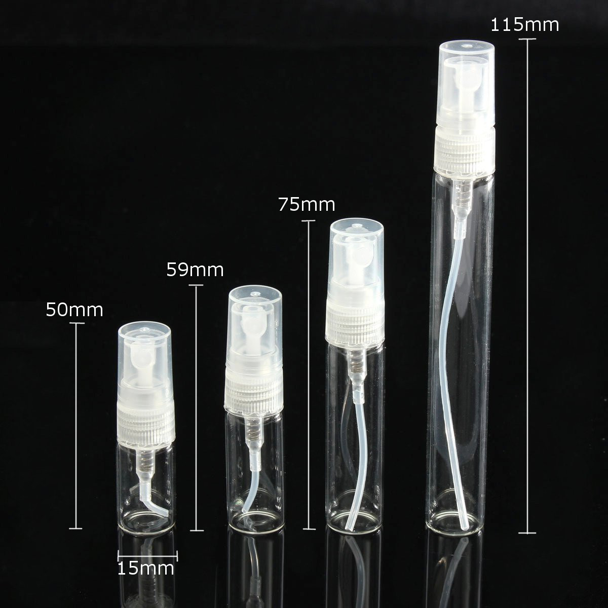 5pcs Atomizer Pump Glass Spray Bottle Perfume Bottle Empty Bottle 2/3/5/10ml