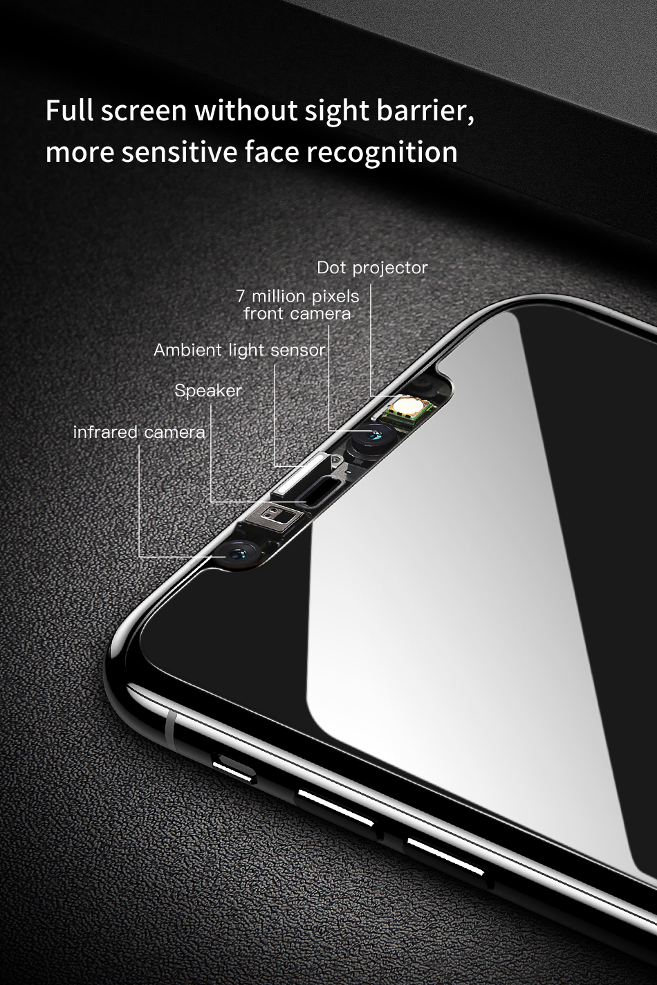 Baseus Anti Spy 0.3mm Anti fingerprint Tempered Glass Screen Protector For iPhone XS/X
