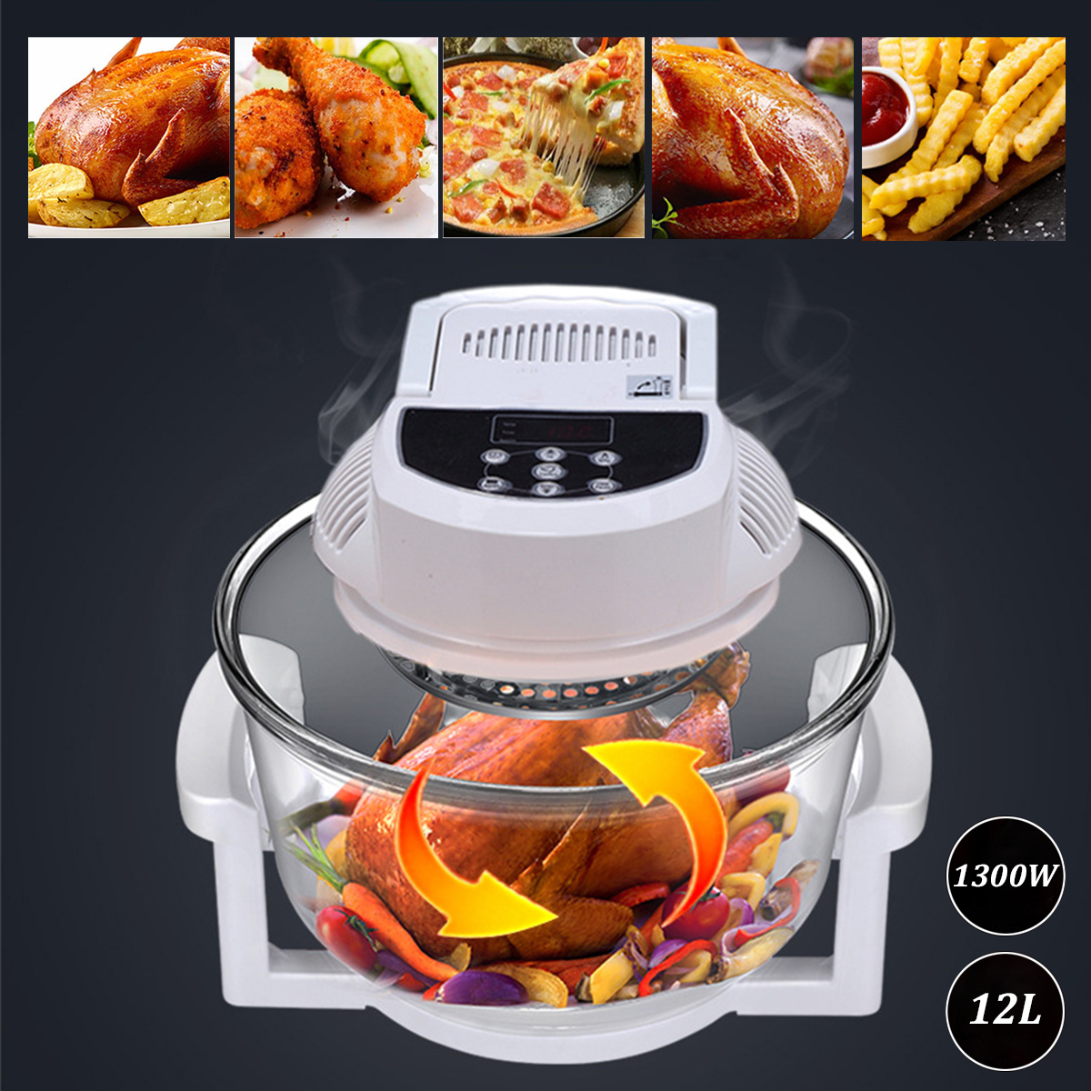 12L 1300W Electric Air Fryer Machine Halogen Infrared Oven French Fries Chicken Skillet