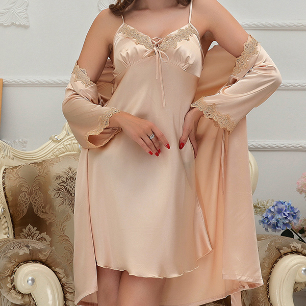 Soft Deep Plunge Lace-trim Silk Sleepwear Suit