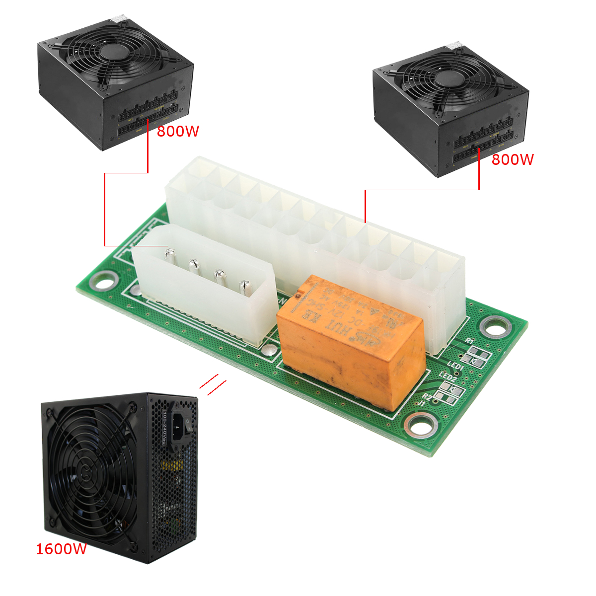 Mining ATX 24Pin Dual PSU Power Supply Sync Starter Extender Cable Connector For BTC Miner Machine