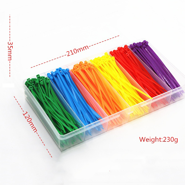 600pcs 100*2.5mm Self-locking Nylon Cable Wire Zip Ties 6 Colors for RC Model
