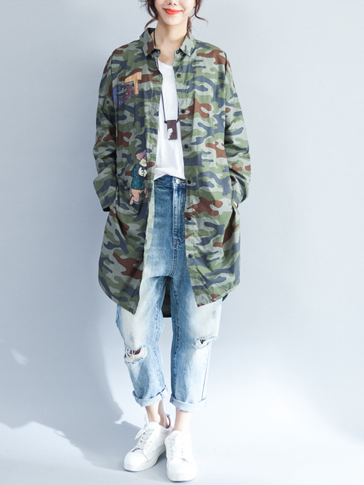 Casual Women Loose Camouflage Print Blouse