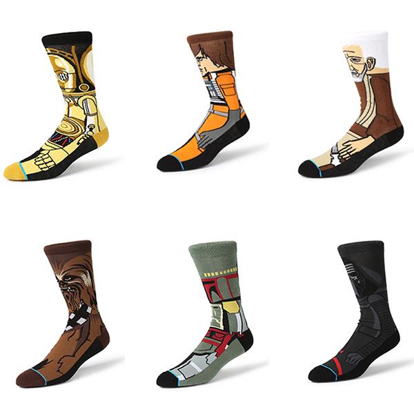 Men Novelty Star Wars Middle Tube Socks Warm Breathable Cotton Socks