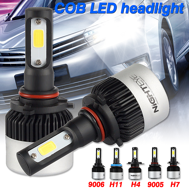 NightEye S2 COB LED Car Headlights 9005 9006 H4 H7 H11 Bulbs Lamps 72W 9000LM 6500K 2Pcs