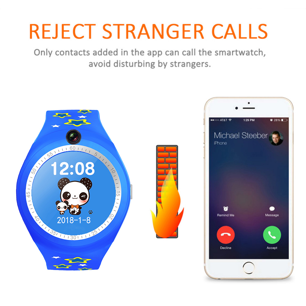Bakeey Y25 Children Pedometer SOS Position Call LBS Location Tracker Flashligh Camera Smart Watch