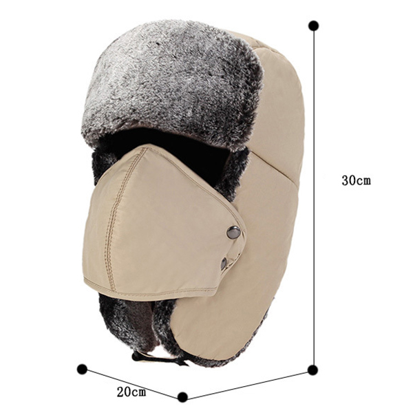 Mens Women Winter Velvet Waterproof Russian Hats With Mask
