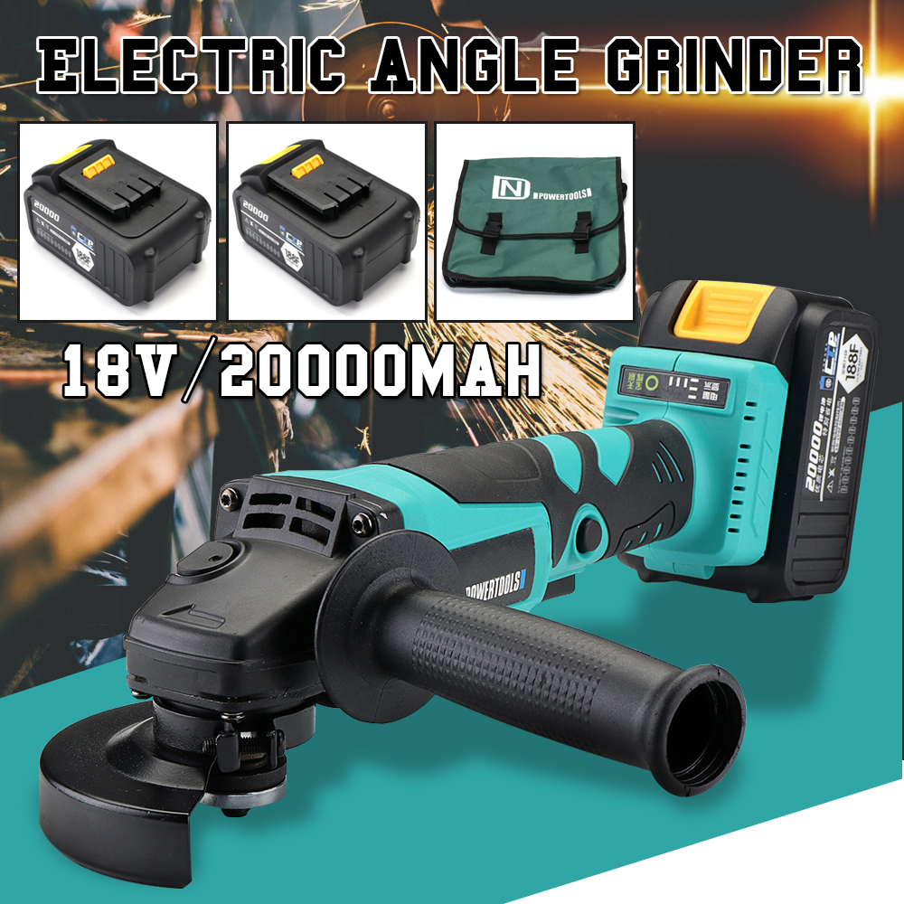 Brushless Cordless Angle Grinder 18V Electric Angle Grinding Cutting Power Tool With 20000mAh Battery&Charger