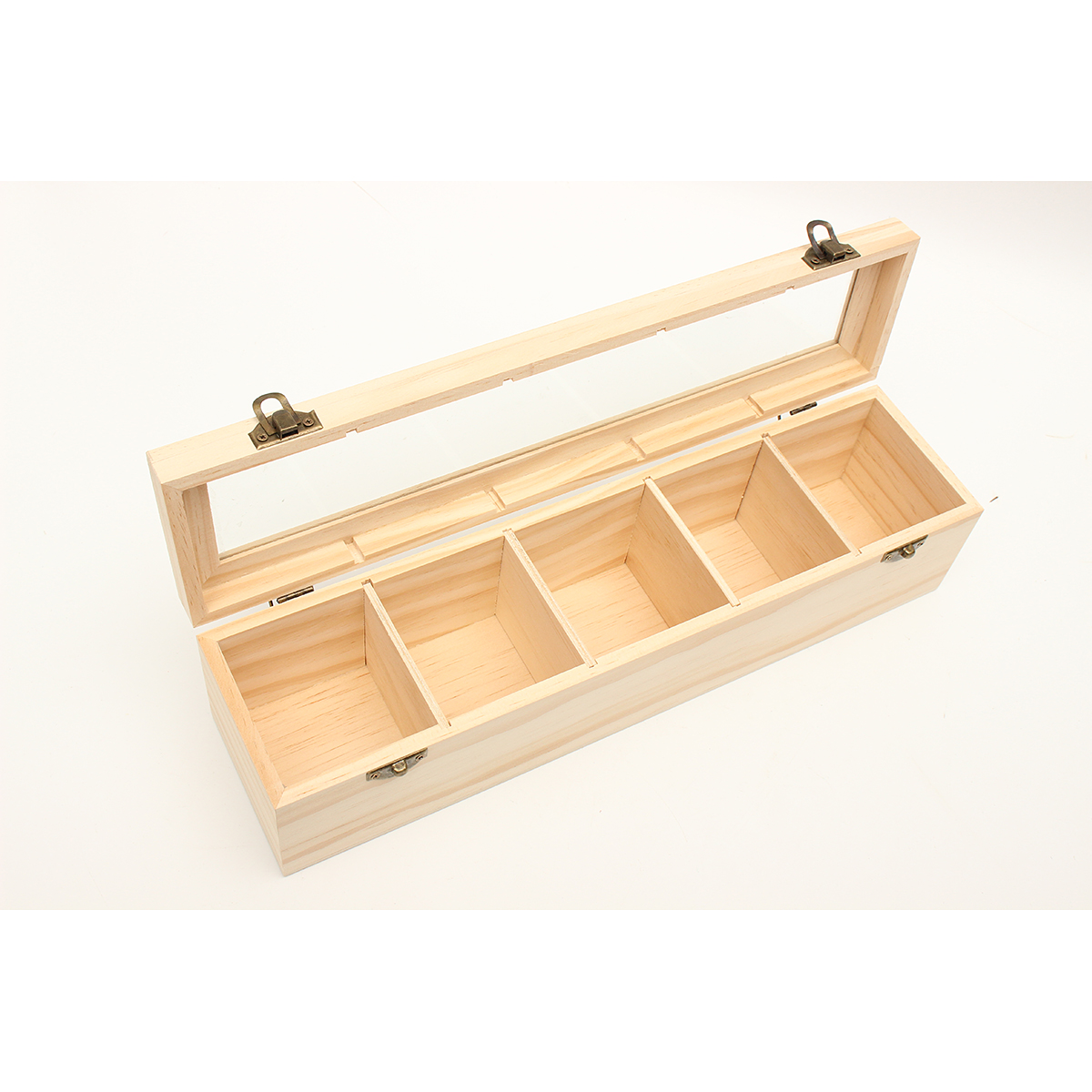 5 Compartments Plain Wooden Tea Box Bag Caddy Storage Display Container With Glass Lid