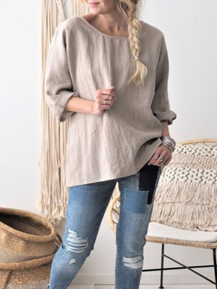 Women Round Neck Long Sleeve Solid Color Cotton Blouse