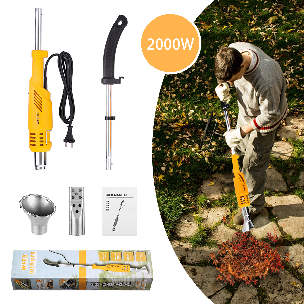 2000W Electric Thermal Weeder Hot Air Weed Killer Grass Flamethrower Weed Burner of Garden Tools
