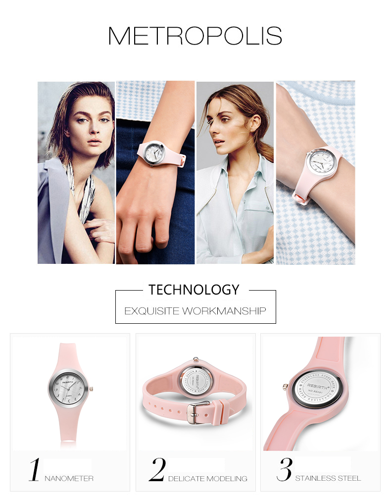 REBIRTH RE091 Casual Style Silicone Soft Band Women Watch
