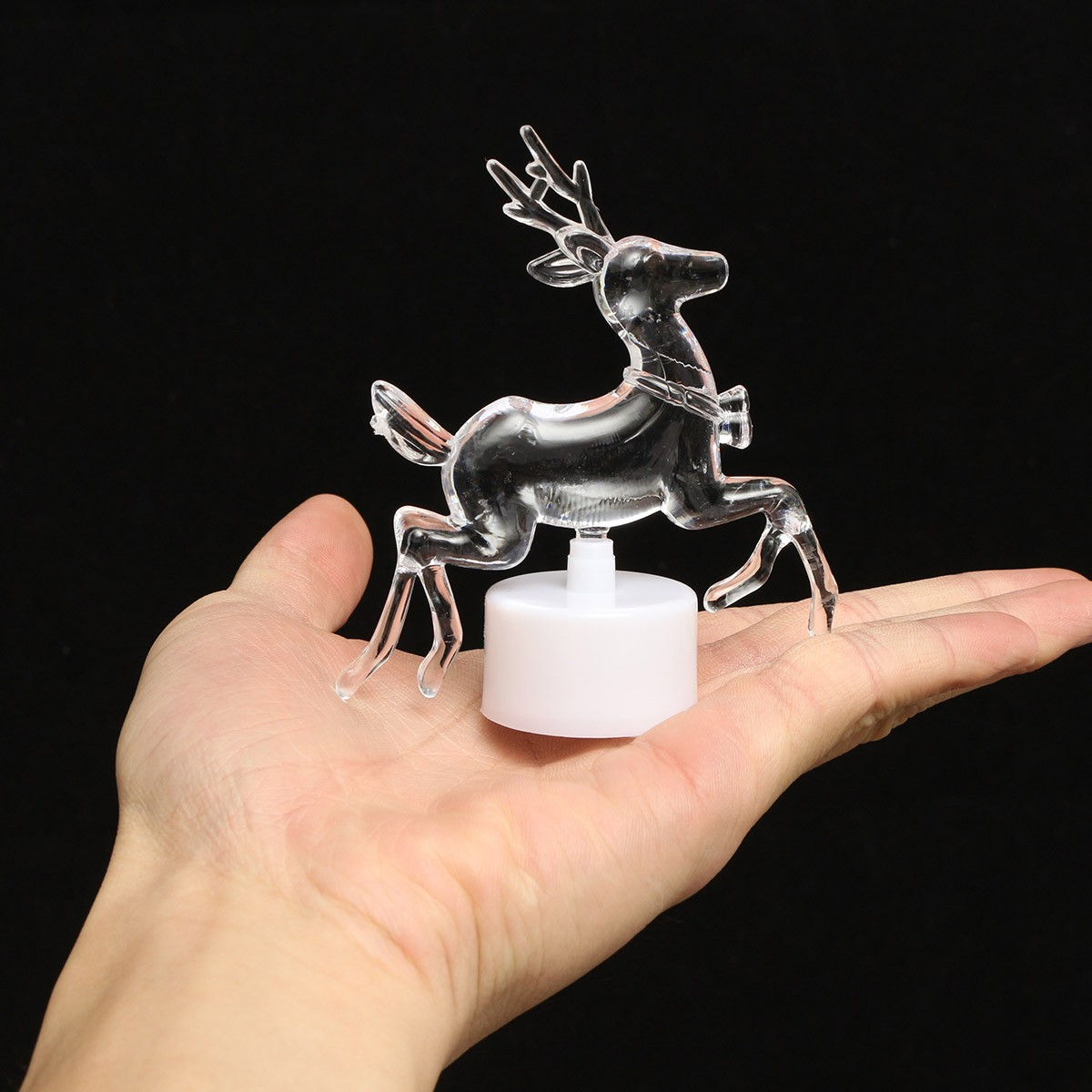 Acrylic Christmas Xmas Transparent Reindeer Color Changing LED Night Light Lamp Home Decor