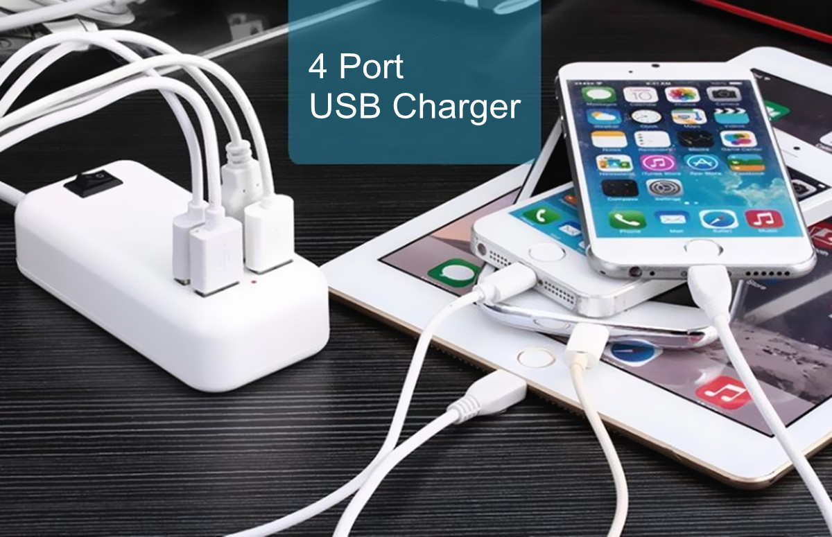Bakeey 5A 3A 4 Port USB Wall USB Charger Power Adaptor US/EU/UK Plug For All USB Devices
