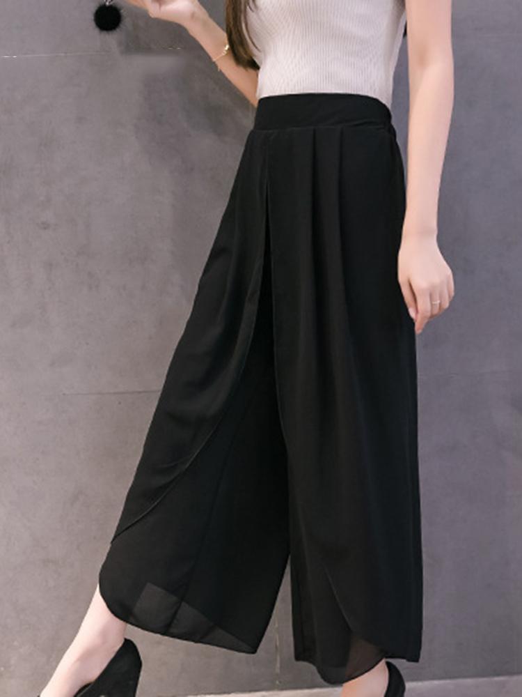 Women Chiffon Elastic Waist Split Wide Leg Pants
