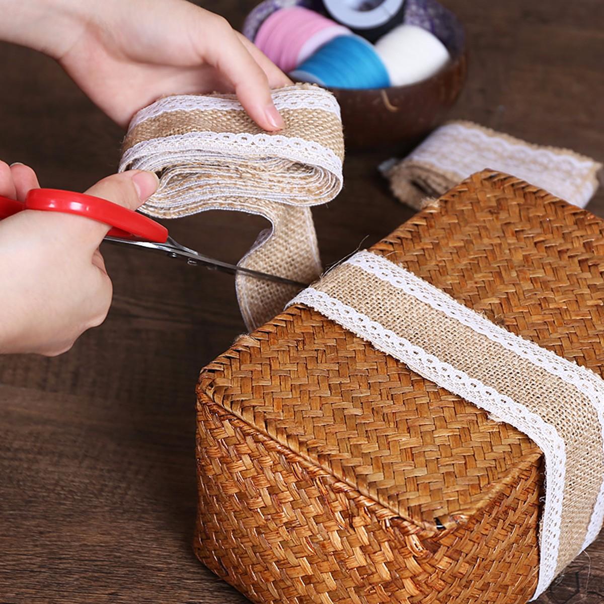5*200CM Jute Hessian Burlap Natural DIY Craft Floristry Ribbon Rustic Wedding Party Decoration