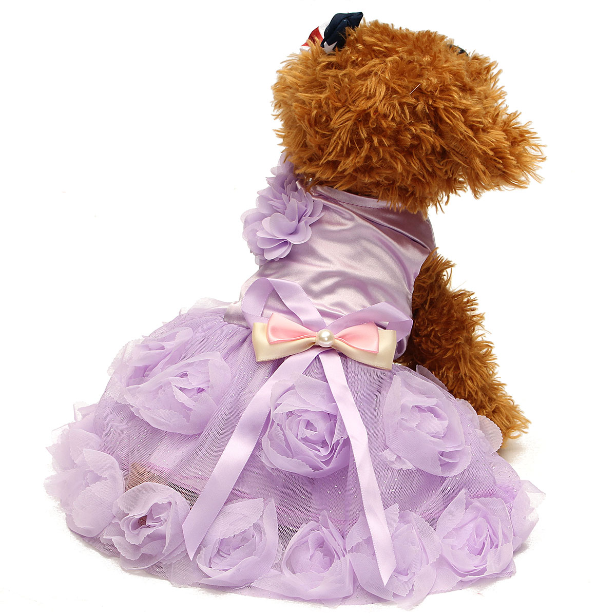 Cat Dog Pet Princess Wedding Dress Pet Puppy Summer Clothes Cat 3D Rose&Pearl Puppy Skirt Apparel