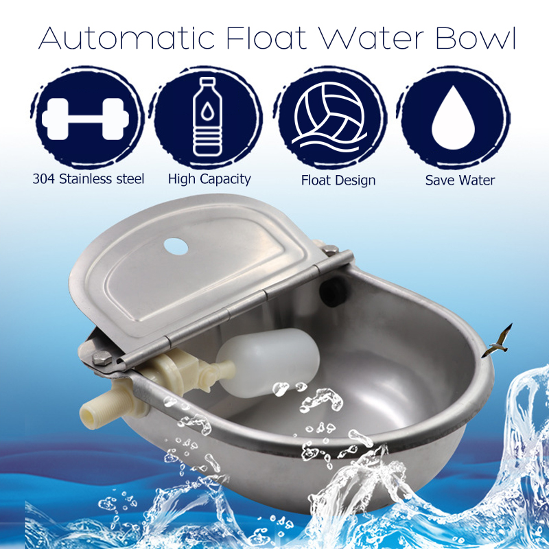 304 Stainless Steel Automatic Float Water Pet Bowl For Horse Cow Dog Sheep Goat Water Dispenser Bowl