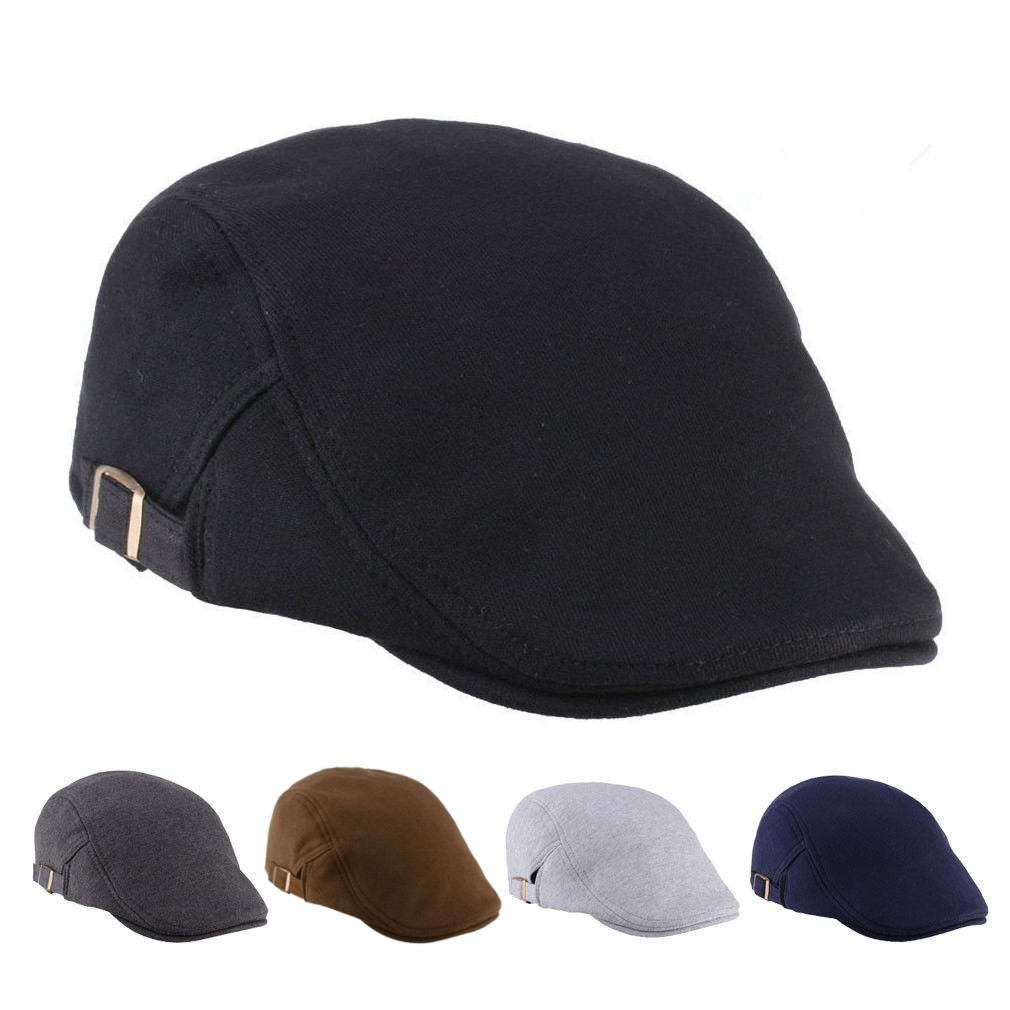 Unisex Cotton Blend Beret Hat Paper Boy Duckbill Golf Flat Buckle Cabbie Cap For Men Women