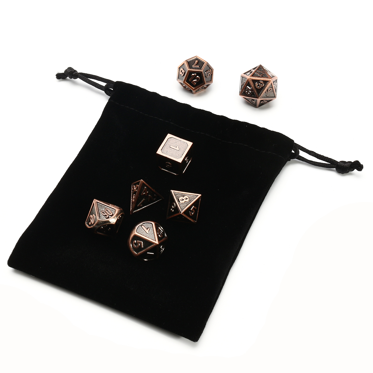 7pcs Embossed Heavy Metal Polyhedral Dices Multisided Dices Set RPG With Bag