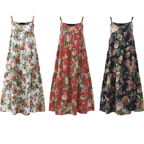 Bohemian Women Sleeveless Spaghetti Strap Floral Maxi Dress
