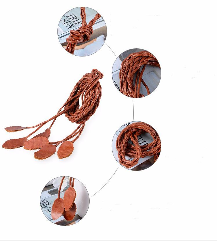 TRUE ADVENTURE New leaves Woven Belts for Women Knitted Long Tassel Belts Ladies Waist Chain