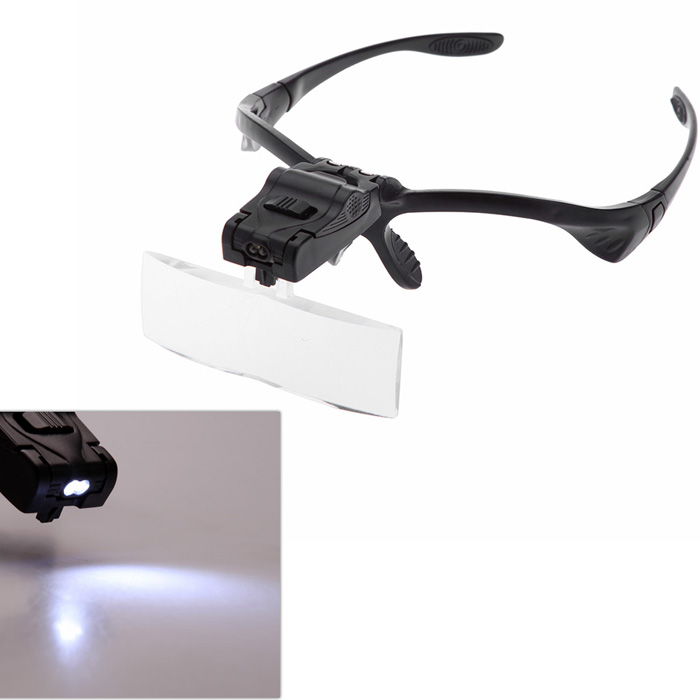 9892B 1.0/1.5/2.0/2.5/3.5X Headband Magnifier Magnifying Glass Eye Repair Loupe 2 LED Light with 5Pcs Glasses