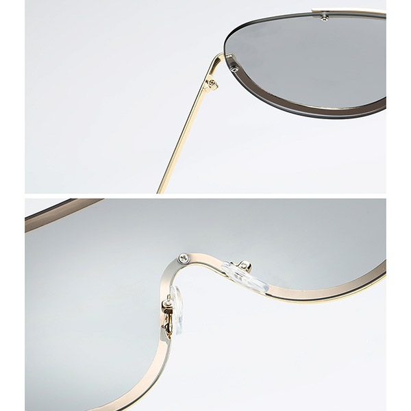 Women UV400 Sunglasses Oversized Colorful Lens Metal Frame Sunglasses