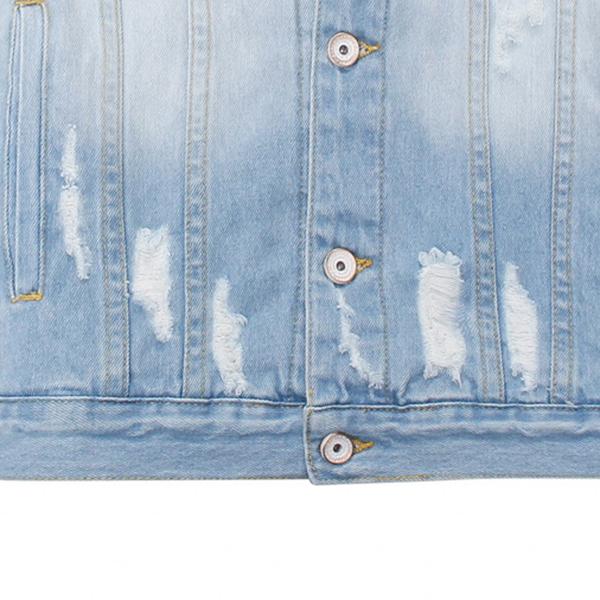 Light Blue Autumn Worn Ripped Denim Chest Pockets Washed Jean Jacket for Men