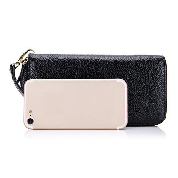 Women RFID Blocking Genuine Leather Phone Holder Wallet
