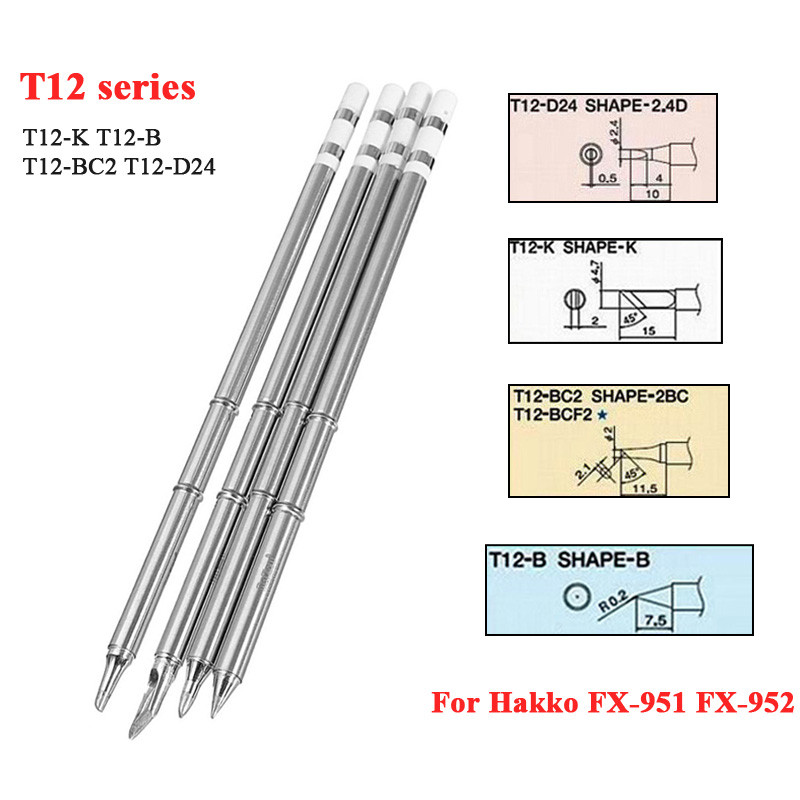 KSGER 4pcs T12-K T12-B T12-BC2 T12-D24 Soldering Iron Tips T12 series for Hakko Soldering Rework Station FX-951 FX-952