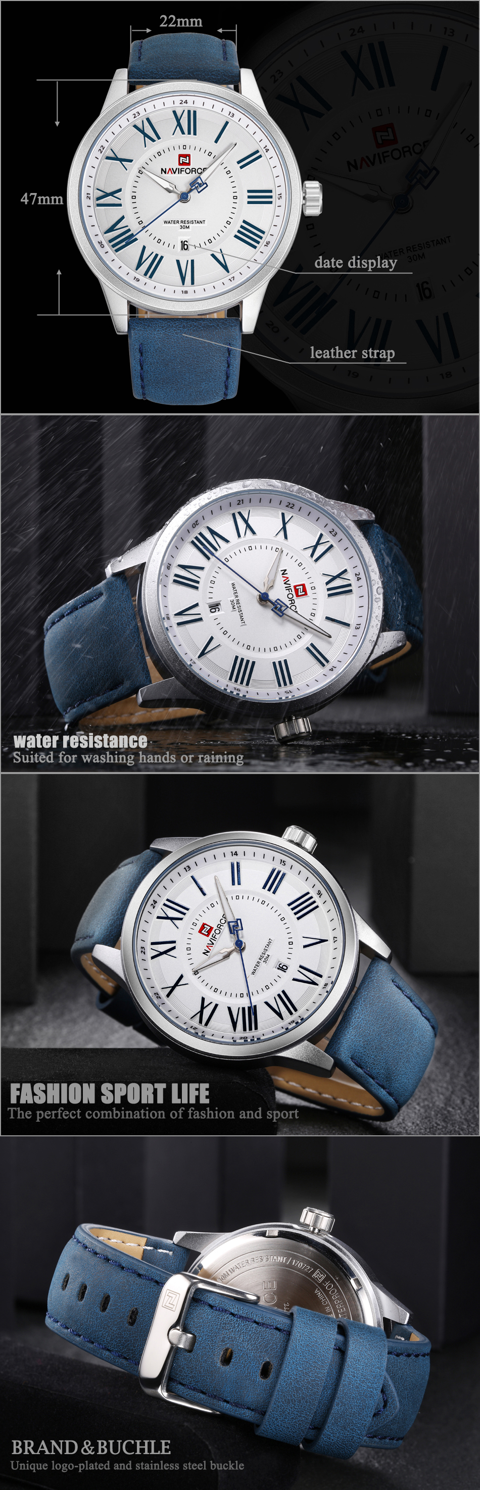 NAVIFORCE NF9126 Date Display Casual Style Men Wrist Watch