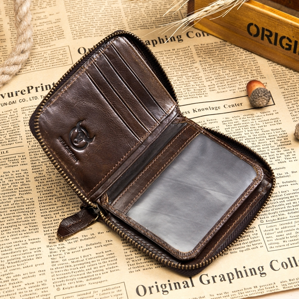 Bullcaptain Men RFID Antimagnetic Genuine Leather Wallet