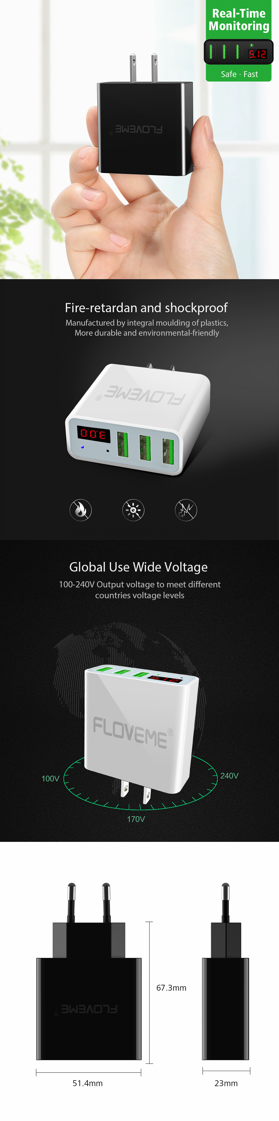 FLOVEME 2.4A LED Display 3 Ports EU Plug Fast Travel Charger For iPhone X 8 Plus OnePlus5 S8 Xiaomi6