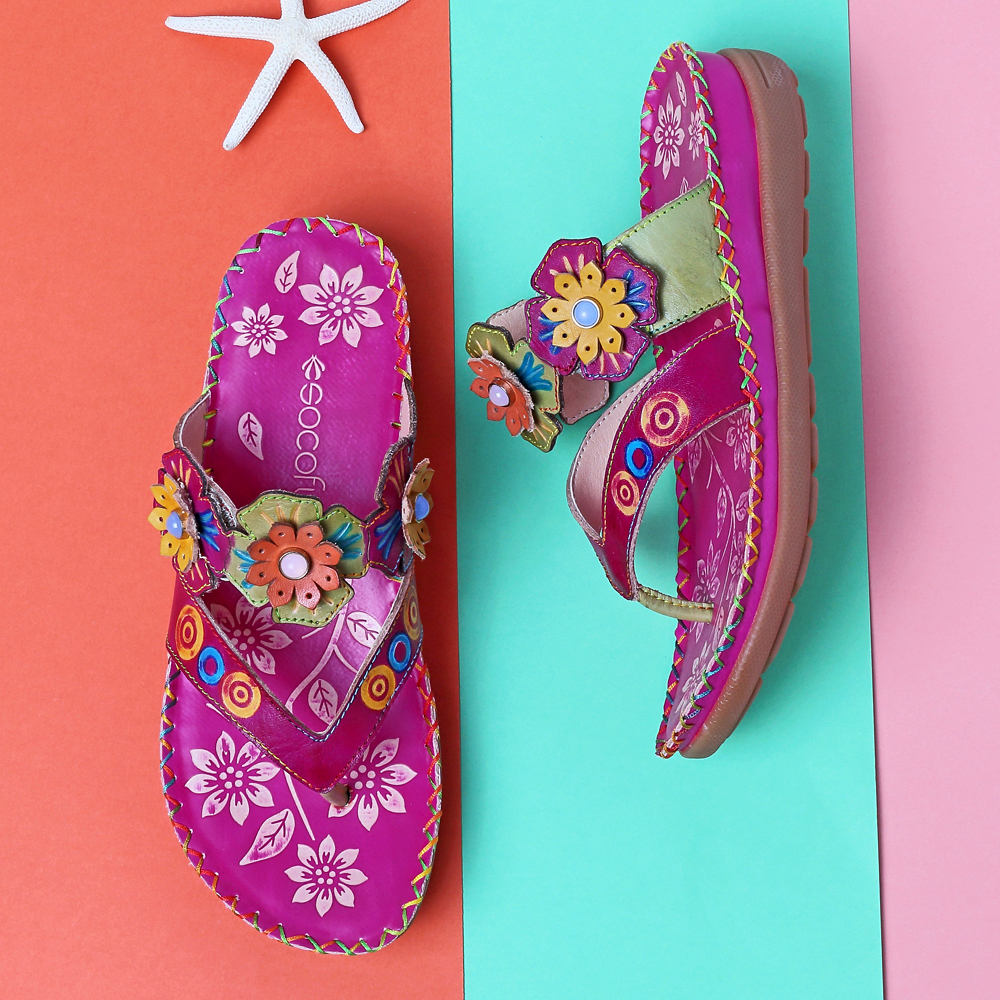SOCOFY Genuine Leather Flowers Casual Sandals