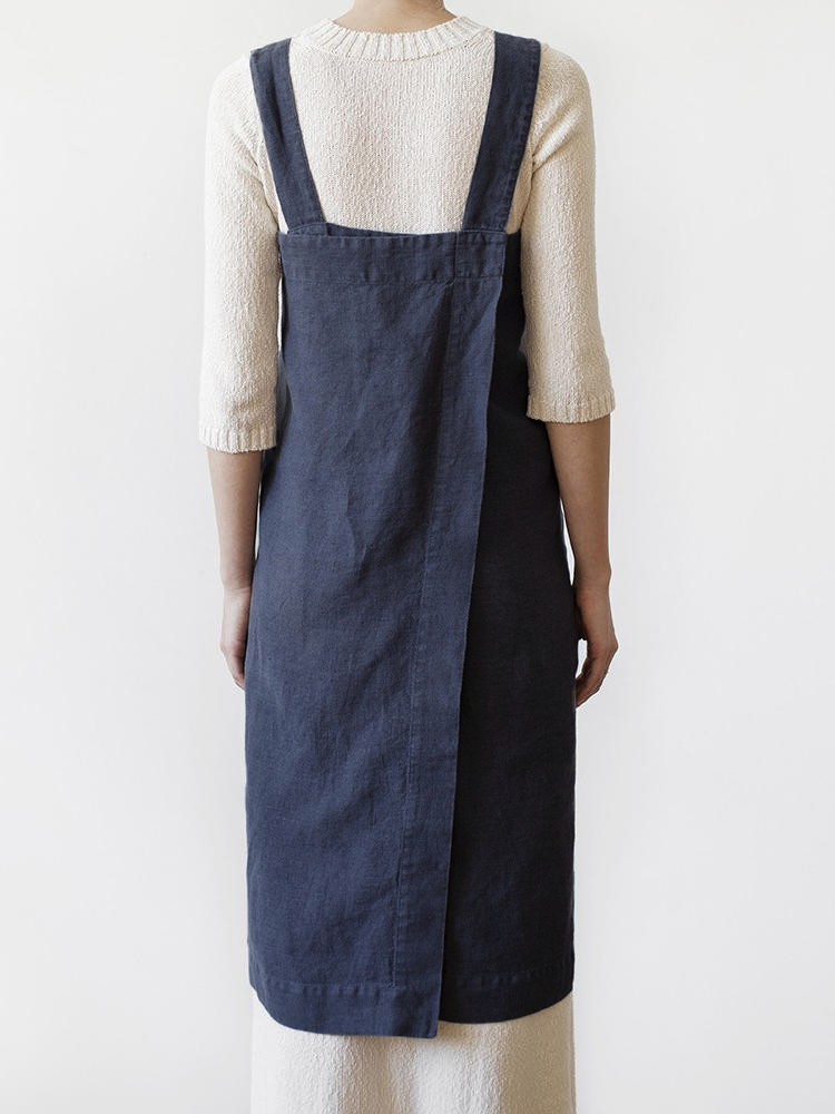 Women Japanese Style Loose Cotton Apron Dress with Pockets