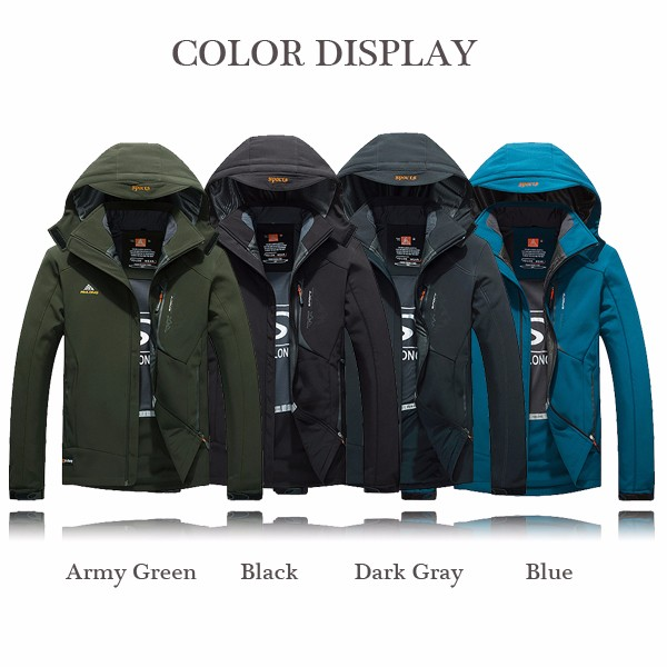 Mens Outdooors Soft Shell Windproof Waterproof Jacket Hooded Detachable Black Casual Coat