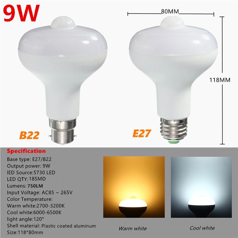 E27 B22 9W 18 SMD 5730 PIR Motion Sensor LED Light Stair Corridor Lamp Bulb AC85-265V