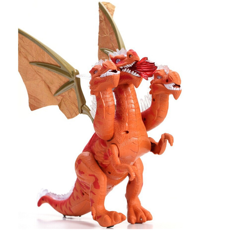 Electric Walking Simulation Dinosaur Red Three Dragons Toys Figure For Kids Children Christams Gift