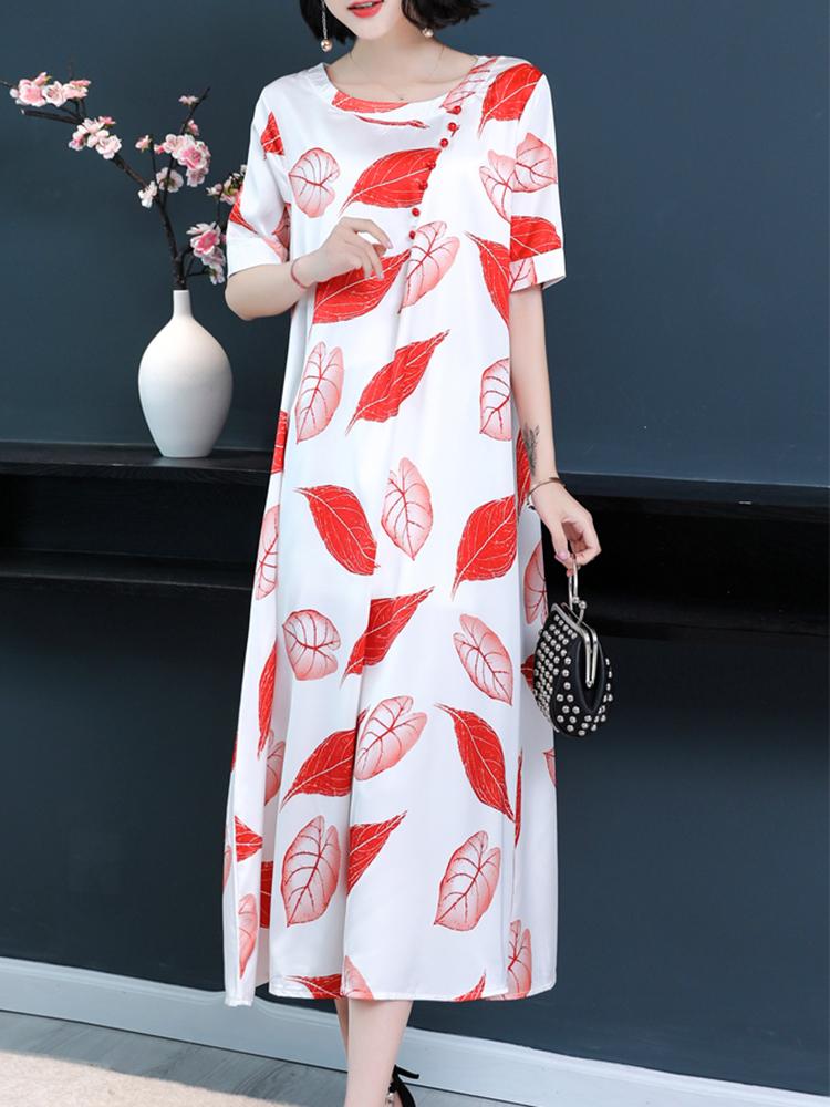 Image of Damen Blumendruck O-A-Linie Kleid